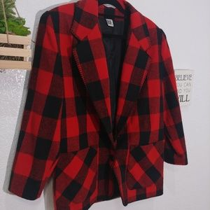 Vintage BE. Buffalo Plaid single button Blazer M